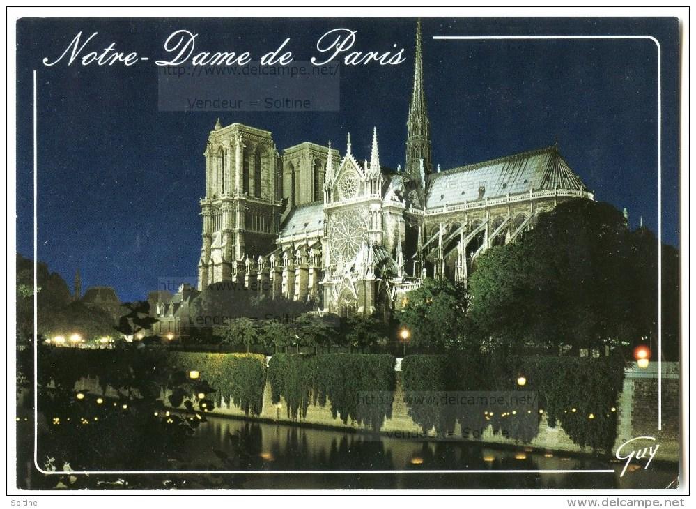 Paris - La Cathédrale Notre-Dame La Nuit - 1990 éd. GUY - Utilisée Pour Concours - 2 Scans - Notre Dame De Paris