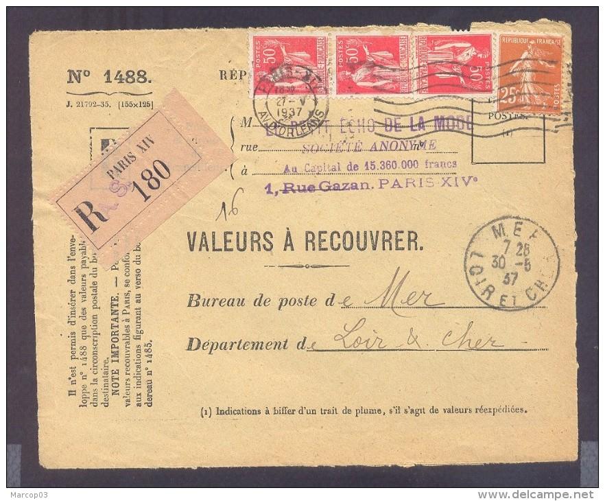 RECOUVREMENT / VALEURS A RECOUVRER Devant Env 1488 Tarif 1,75 Fr Tarif 18/07/1932 Paris Paix Semeuse - Poststempel (Briefe)
