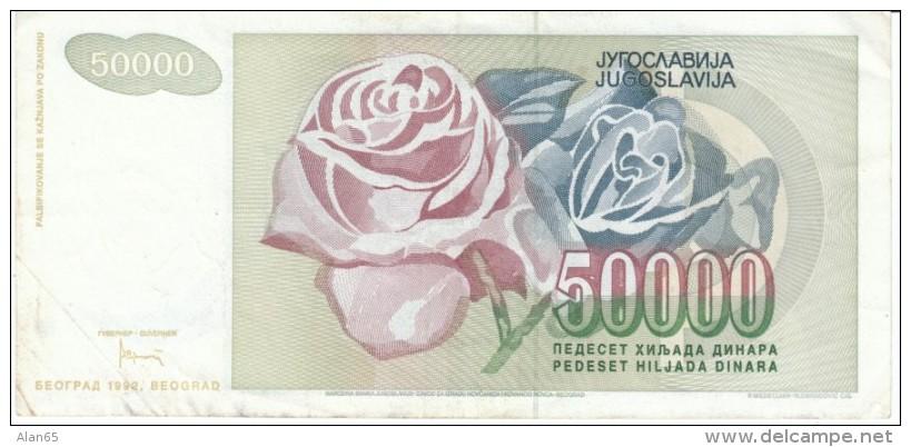 Yugoslavia #117, 50000 Dinars, 1992 Banknote Currency - Yugoslavia