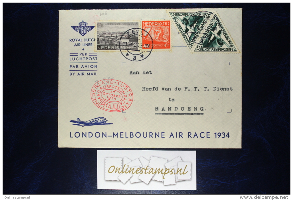 Netherlands, London-Melbourne Airrace, 1934, Uiver Mixed Stamps. - Periode 1891-1948 (Wilhelmina)