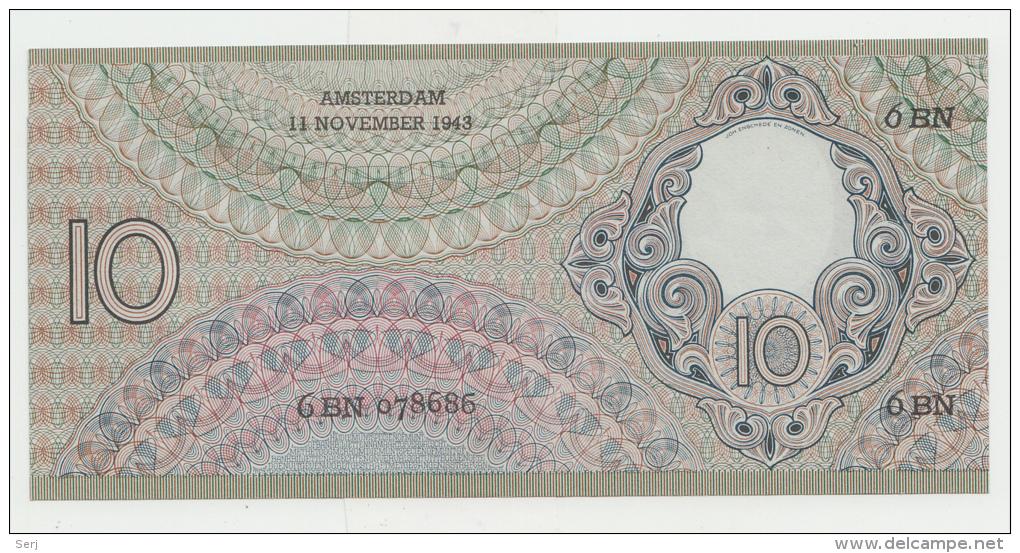 Netherlands 10 Gulden 1943 UNC NEUF P 59 - 10 Gulden