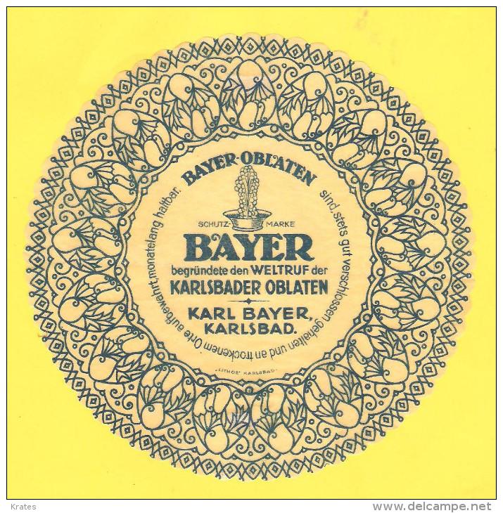 Old Labels, Promotional Labels Or Similar - Bayer, Karlsbader Oblaten, R = 15 Cm - Andere