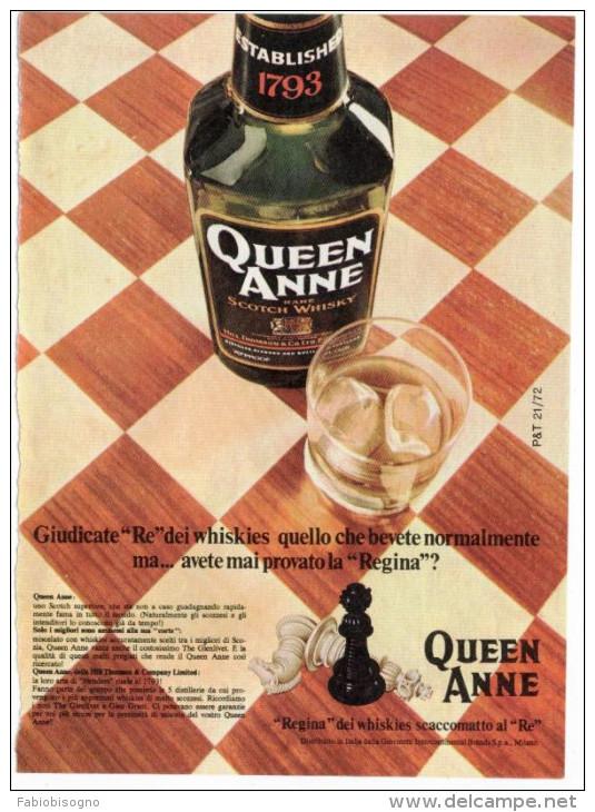 1972 - Whisky Queen Anne - 1 Pagina Pubblicità Cm. 13 X 18 - Whisky