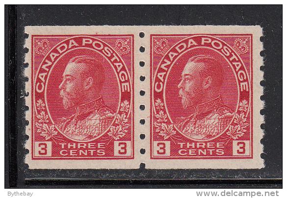 Canada MNH Scott #130 3c George V, Admiral Issue, Die I - Coil Pair - Neufs