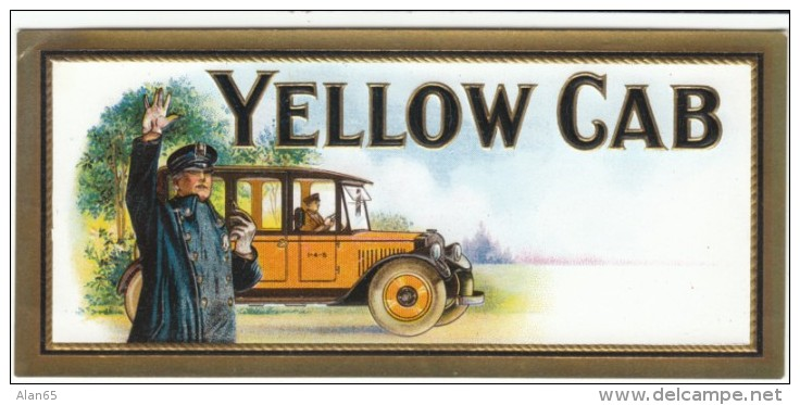 Yellow Cab, Taxi, Art Man Hails Taxi, C1910s/20s Vintage Sticker - Stickers