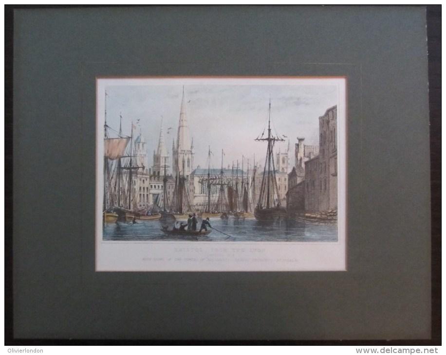 Gravure De ´´Vue De Bristol Depuis L´Avon´´ - Elegant Mounted Print: Bristole From The Avon Victorian View - Prints & Engravings