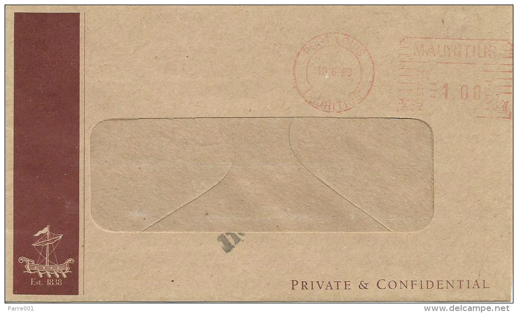 """Mauritius Maurice 1999 Port Louis Meter Franking Pitney Bowes-GB """"6300"""" Mauritius Commercial Bank Domestic Cover - Mauritius (1968-...)"""