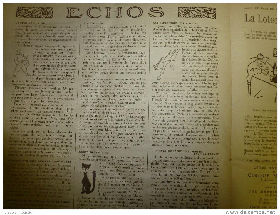 1919 LPDF:Fanions LPDF à L' Escadrille Américaine;ODESSA ;Un SINGE Domestiqué Pourrait Faire Des Tâches Simples Gratuit - Revues & Journaux