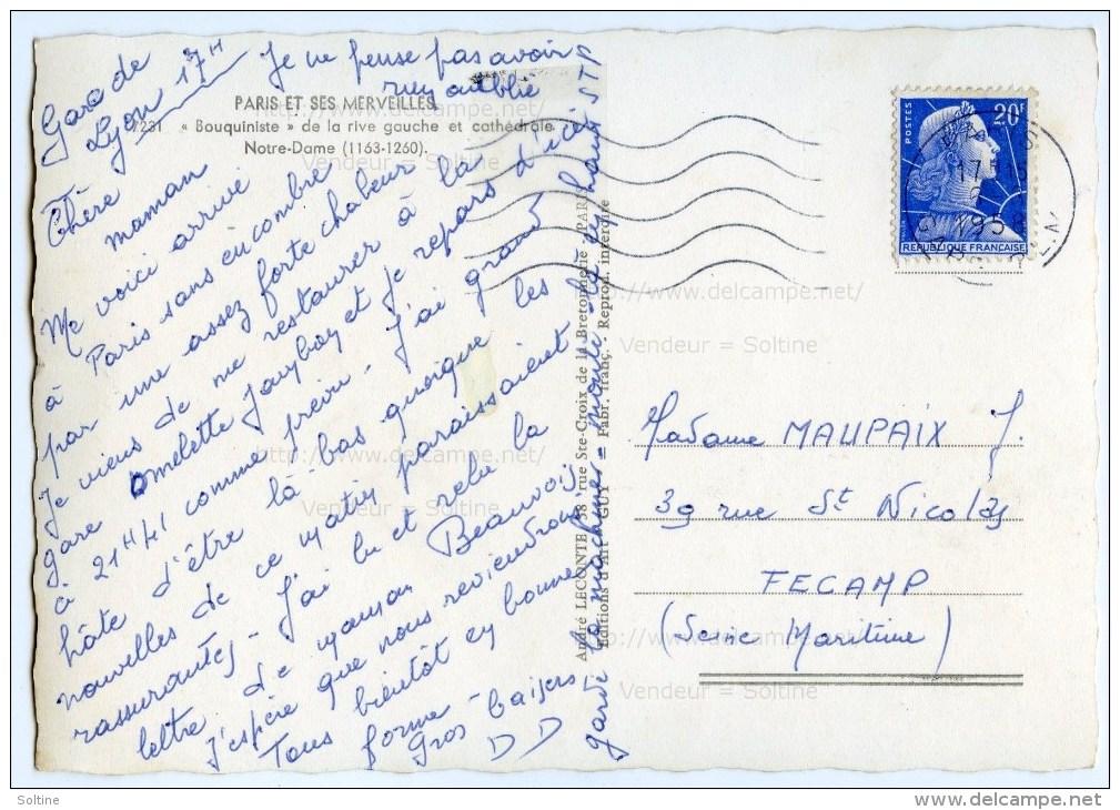 Paris - Bouquiniste De La Rive Gauche Et Cathédrale Notre-Dame - 1958 éd. GUY Dentelée - 2 Scans - Notre Dame De Paris