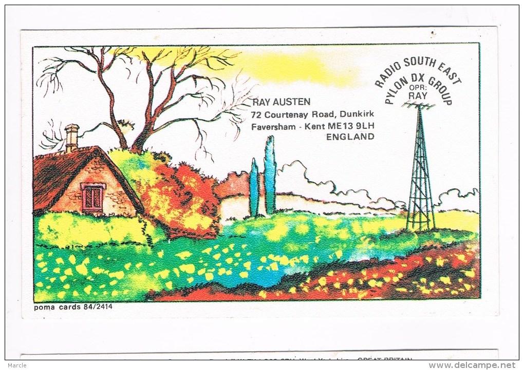 QSL Card Poma 84/2414 RADIO SOUTH EAST Ray Austin  Dunkrik, Faversham, Kent, England - CB-Funk