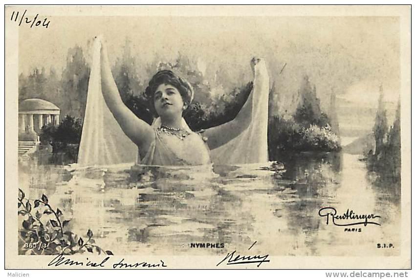 Ref C430-femme - Artiste A Identifier - Nymphes - Montage Photo Reutlinger A Paris -theme Femmes   -carte Bon Etat - - Femmes