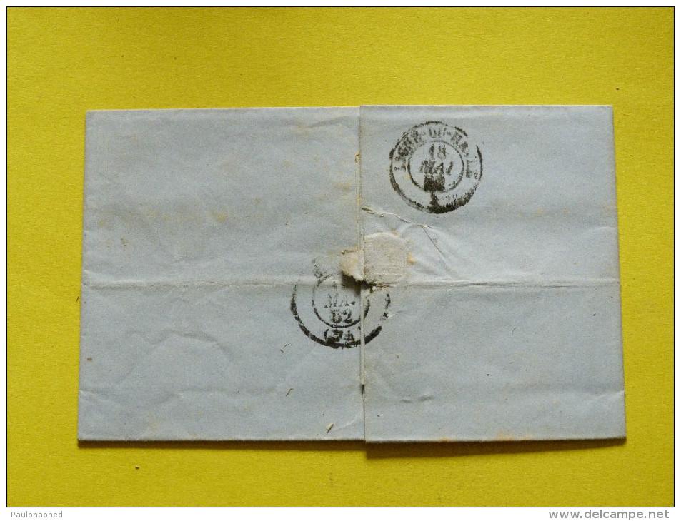 LETTRE LIGNE DU HAVRE 18 MAI 1852 - Marcophilie (Lettres)