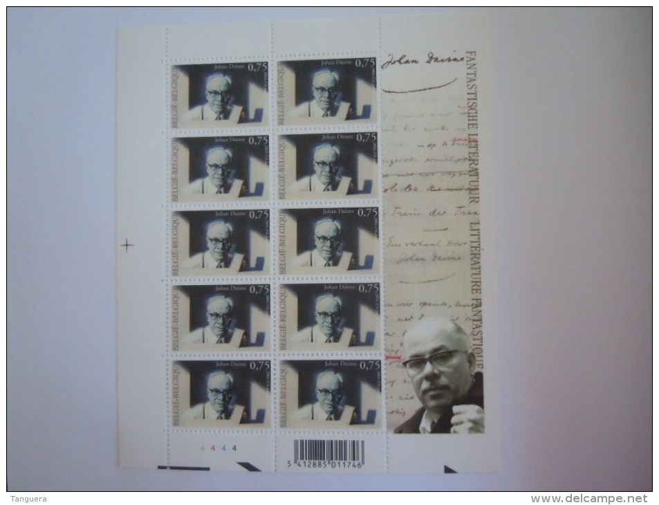 België Belgique 2004 Fantastische Literatuur Littérature Fantastique Johan Daisne Feuillet PLANCHE 4 3327 Yv 3314 MNH ** - Velletjes