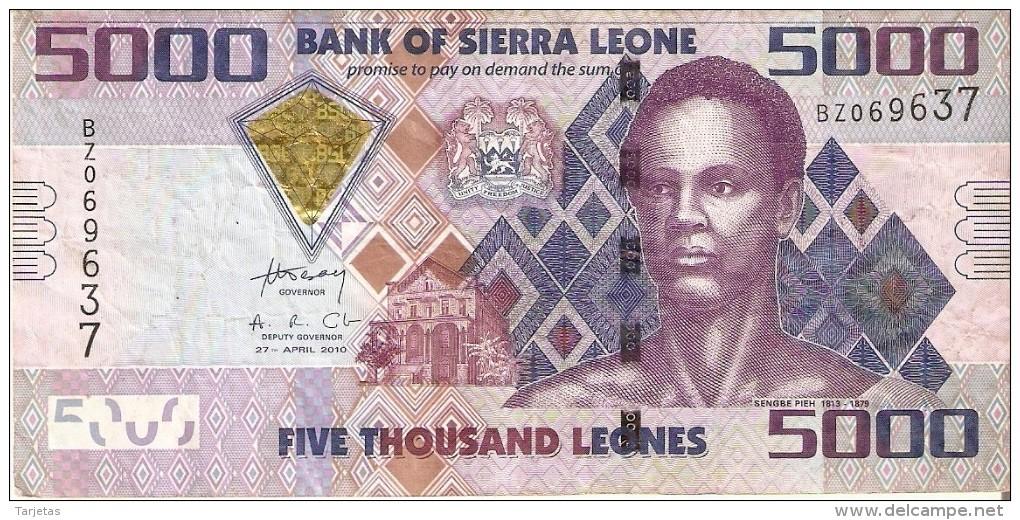 BILLETE DE SIERRA LEONA DE 5000 LEONES DEL AÑO 2010    (BANKNOTE) - Sierra Leona