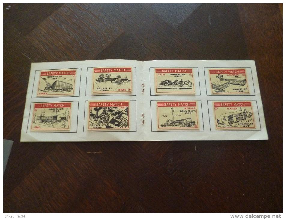 Rare Carnet Avec 30 Vignettes De Boites D'allumettes Vues Des Pavillons De L'exposition Universelle De Bruxelles 1958. - Tabac (objets Liés)