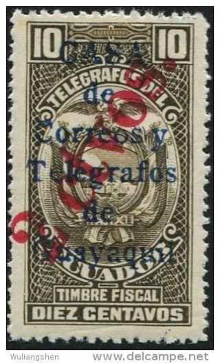 JA0179 Ecuador 1934 National Emblem Surcharged 1v MNH - Ecuador