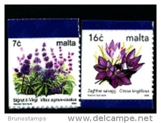 MALTA - 2003  FLOWERS SELF-ADHESIVE FROM BOOKLET  SET MINT NH - Malta