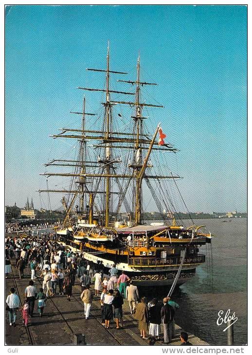 [33] Gironde > BORDEAUX Les Quais L´AMERIGO VESPUCCI (bateau Marine Militaire Trois-mâts Carré Voilier)  *PRIX FIXE - Bordeaux