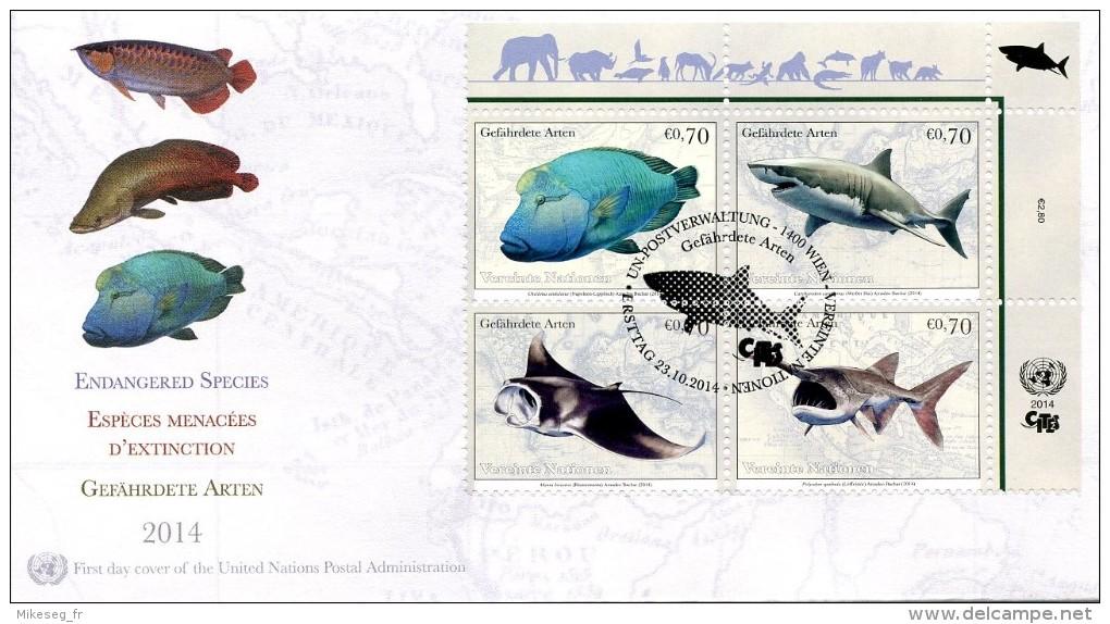 ONU Vienne 2014 - CITES FDC Espèces En Danger Endangered Species Gefährdete Arten - FDC