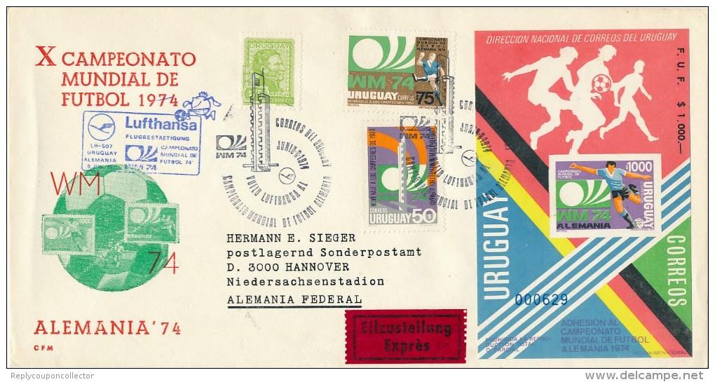 URUGUAY - Fussball-Weltmeisterschaf T 1974   - Big Letter, Dispatch = 4,20 EURO - Uruguay