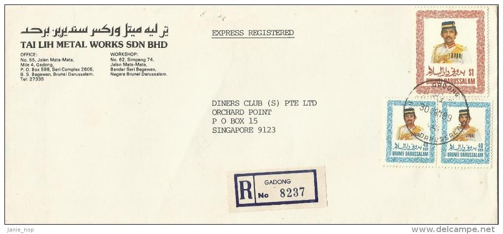 Brunei 1989 Express Registered Cover To Singapore - Brunei (1984-...)