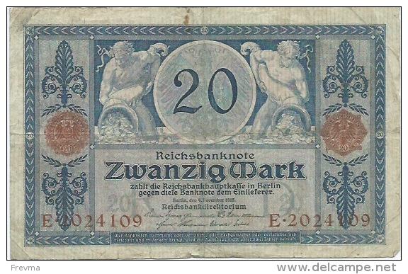 20 Mark Novembre 1915 Serie E Superbe - Sans épinglage - [ 2] 1871-1918 : Empire Allemand