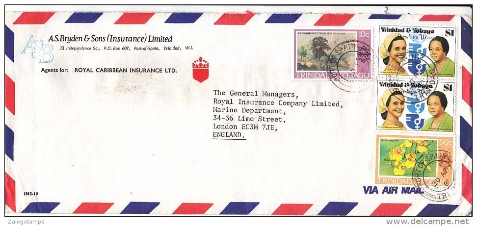 Trinidad & Tobago Airmail Cover, Stamps, Health, Flora, Flowers (Z-6686) - Trinité & Tobago (1962-...)