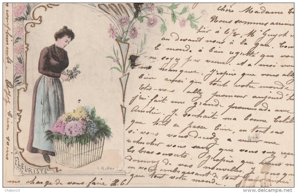 A. MULLER - LA FLEURISTE - Carte Pionnière Bon état - Illustrators & Photographers