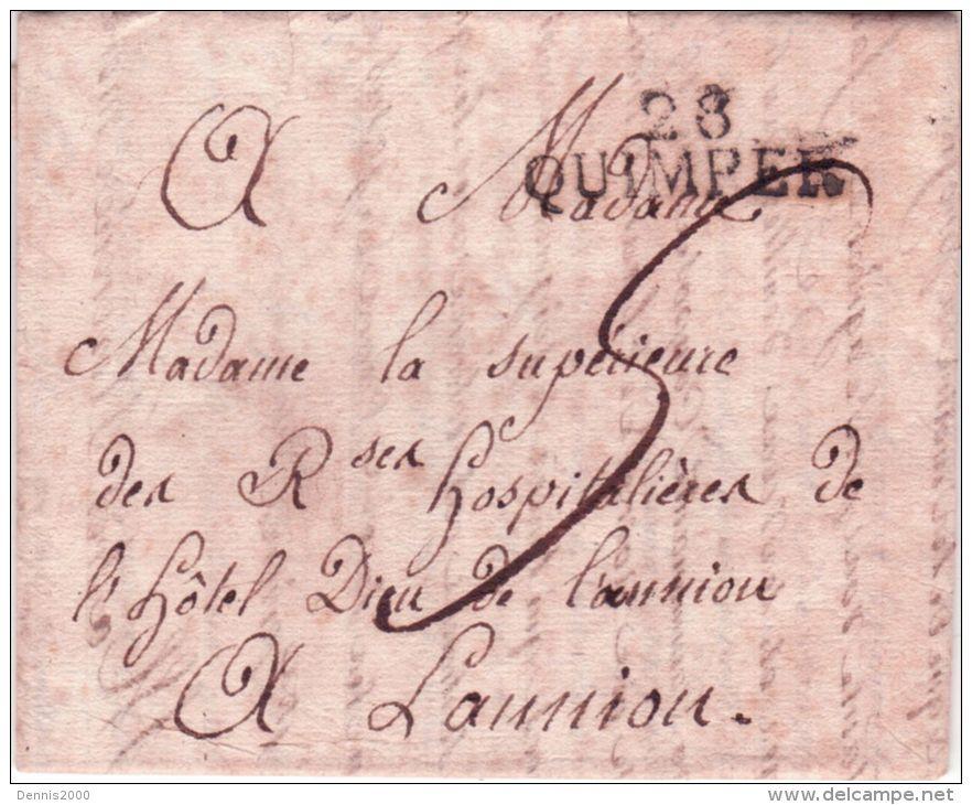 1818 - Lettre De 28 / QUIMPER ( Finistère)  34 X 10 Mm Noir Pour Lannion - Marcophilie (Lettres)