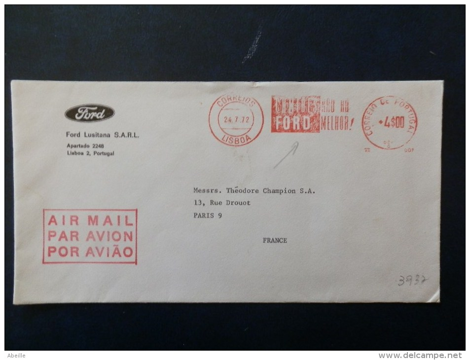 A3935  LETTRE PORTUGAL - Cars
