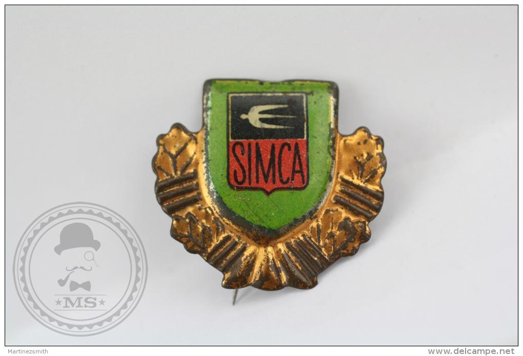 Old SIMCA Motor Car Tin  Advertising Needle Pin/ Badge - Otros