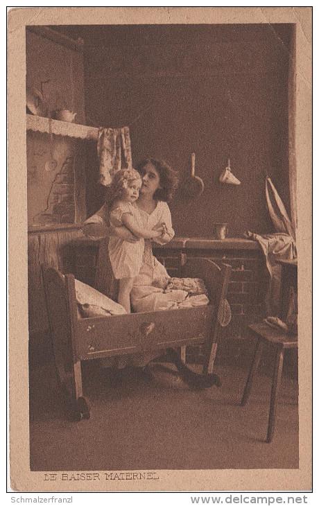 Künstlerkarte AK Le Baiser Maternel Frau Femme Kind Enfant Fille Kuss - Künstlerkarten