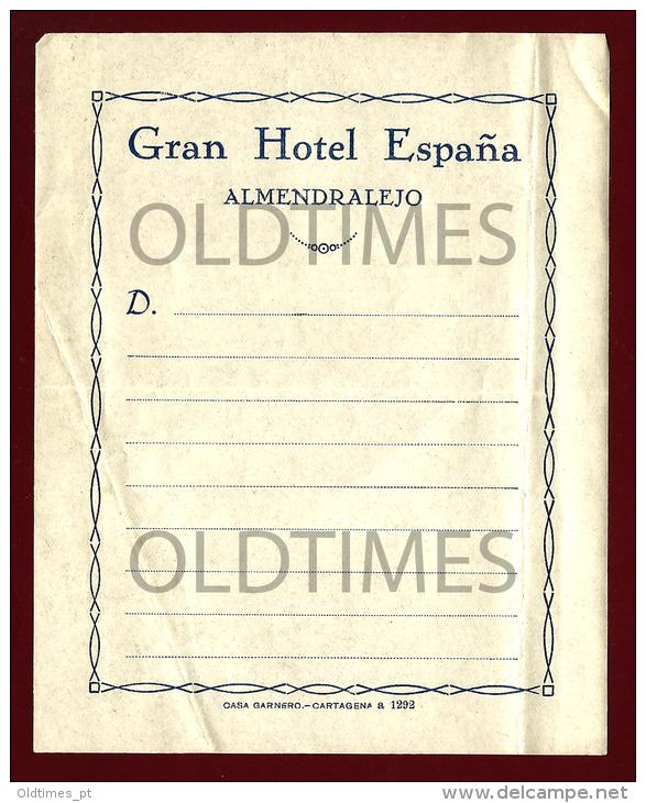 ESPANA - ALMENDRALEJO - GRAN HOTEL ESPANA - 1940 OLD ADVERTISING STICKER - Stickers