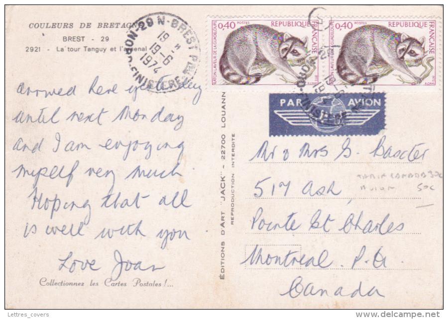 Raton Laveur De La Guadeloupe 40c Paire Au Tarif SPECIAL CANADA Sur CP AVION   Obl BREST - Marcophilie (Lettres)