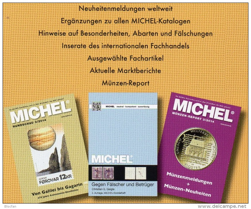 MICHEL Briefmarken Rundschau 1/2014 Sowie 1/2014 Plus Neu 11€ New Stamps Of The World Catalogue And Magacine Of Germany - German