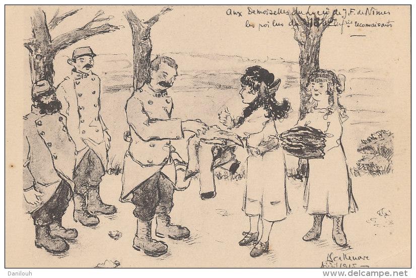 """30 // NIMES / MILITARIA  Illustration SALLENAVE  """"aux Demoiselles Du Lyée De Jeunes Filles De Nimes, Les Poilus Du 218 D - Nîmes"""