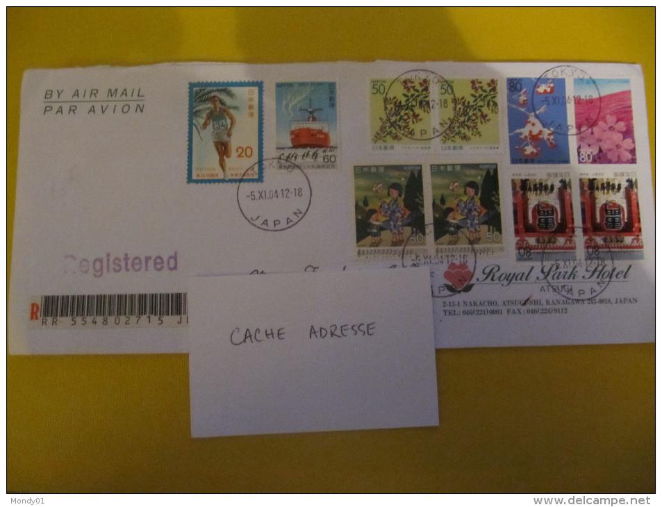 2-187 Japon Nippon Tokyo  2004 Polaire Brise Glace Musique Fleur Flower Lettre Recommandée Pour La France - Japon
