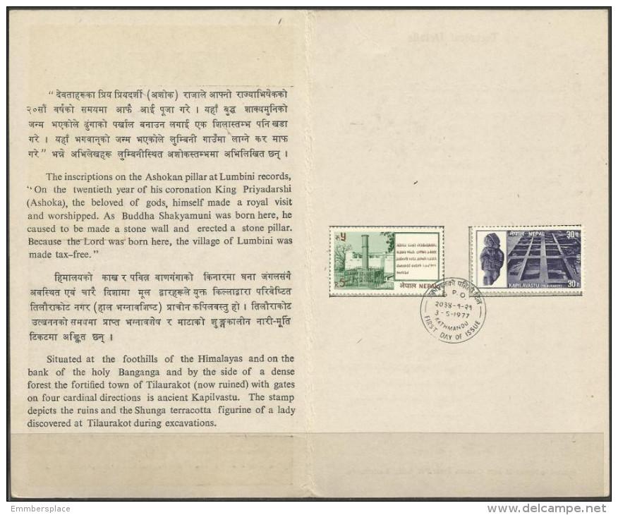 Nepal - 1977 Tourism FD Folder   SG 347-8  Sc 329-30 - Nepal