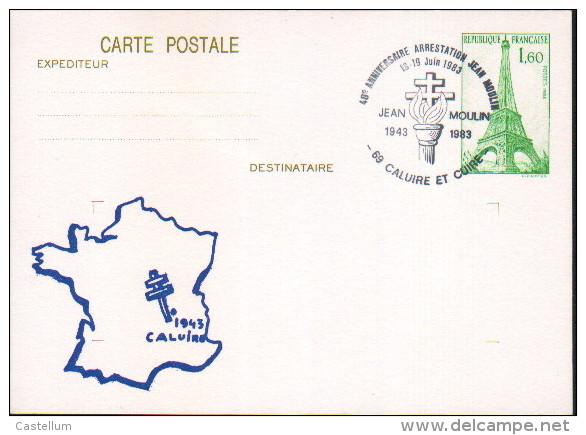 Entier-postal- Arrestation De Jean Moulin - Prêts-à-poster:  Autres (1995-...)