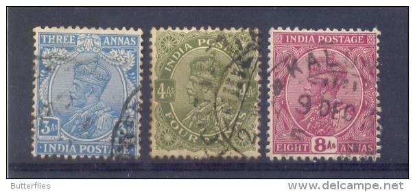 Indie - 1911 - 1926 - Yv. 86 + 87 + 89  - Gestempeld - Indien