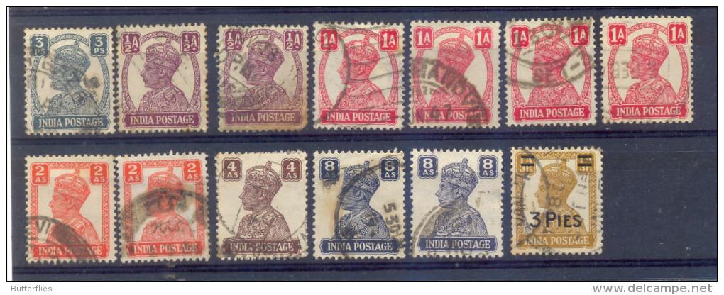 Indie - 1939 - 1943 -  Yv. 161/6 + 164 + 167 + 170  + 172 + 178 - Gestempeld - Indien