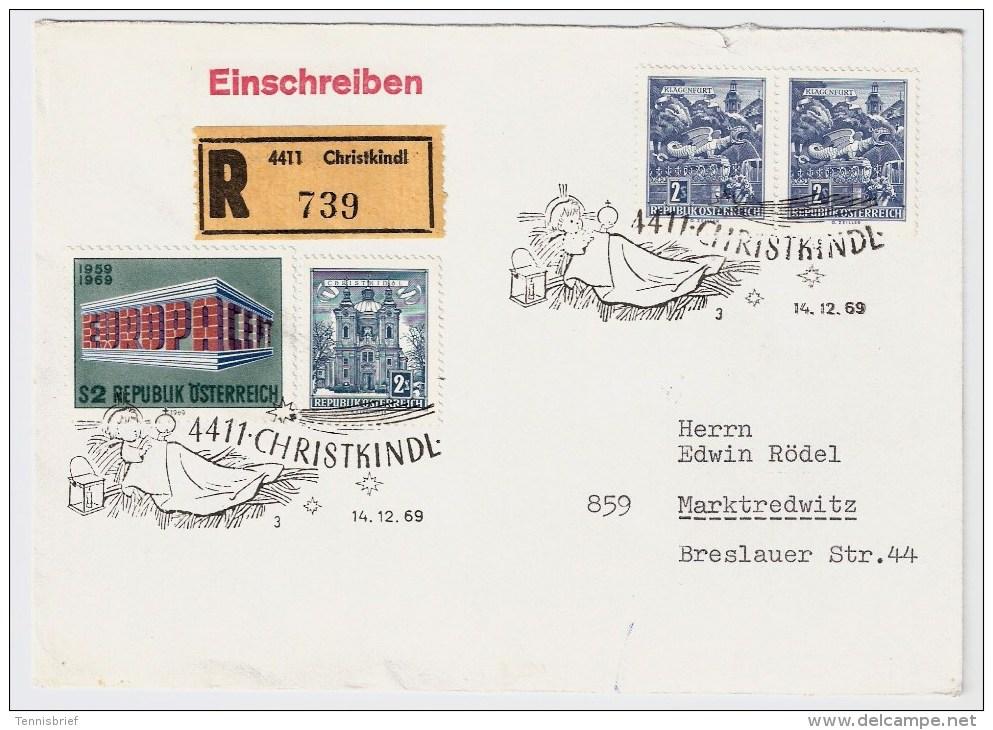 Österreich, Christkindl, 14.12.1969, Reco-Brief, Seltener Stp.   , S520 - 1961-70 Briefe U. Dokumente