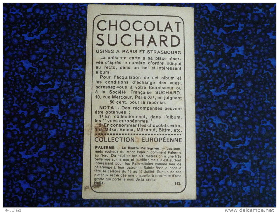 Chromo , Image, Chocolat SUCHARD, PALERME, Le Monte Pellegrino - Suchard