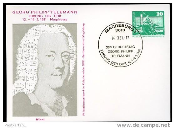 TELEMANN DDR PP16 D2/044 Privat-Postkarte Magdeburg Sost. 1981 - Musica