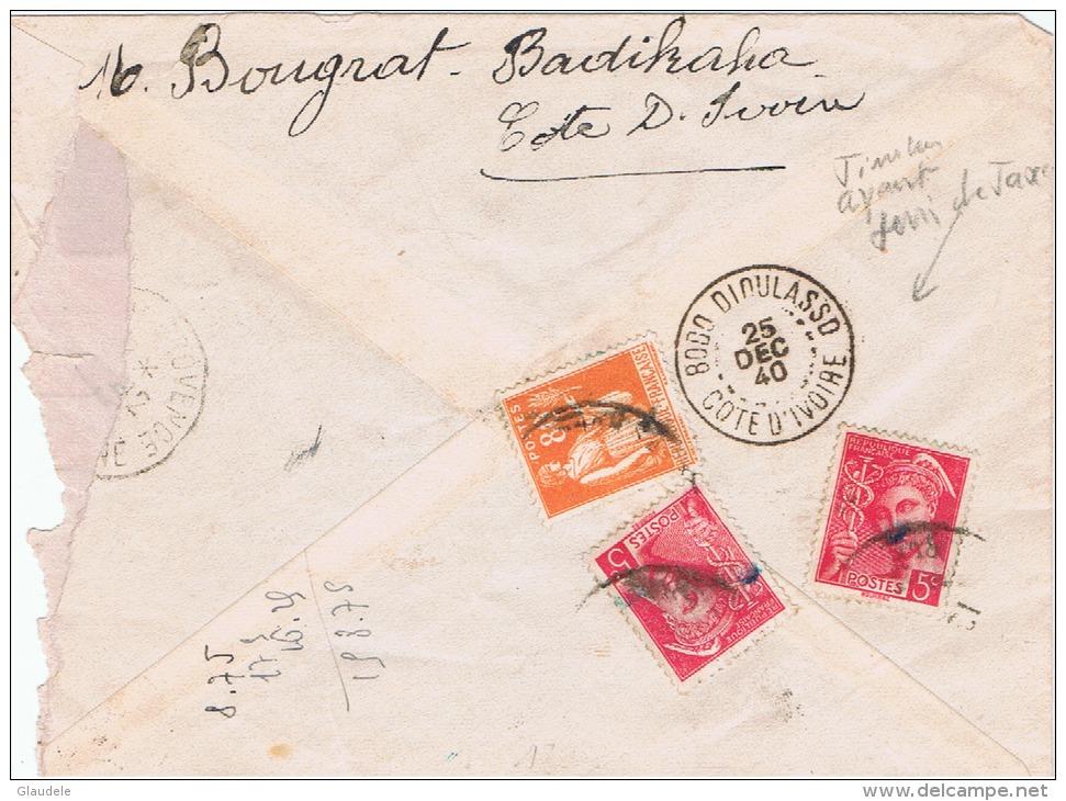 Cote D'ivoire:badikaha A  Salon De Provence  Lettre Taxée+censure - Côte-d'Ivoire (1892-1944)