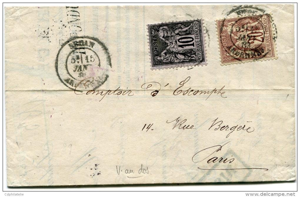 FRANCE LETTRE AFFRANCHIE AVEC N°67 ET N°89 OBLITERATION SEDAN 15 JANV 83 ARDENNES POUR PARIS - Marcophilie (Lettres)