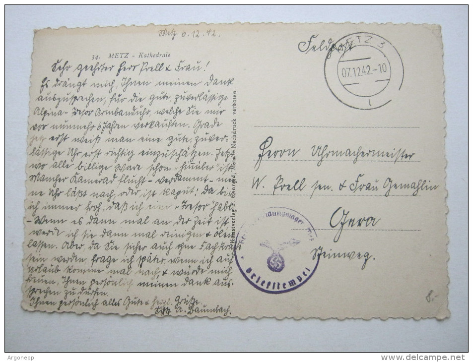 1942, METZ , Carte Militaire  A Allemagne - Marcophilie (Lettres)