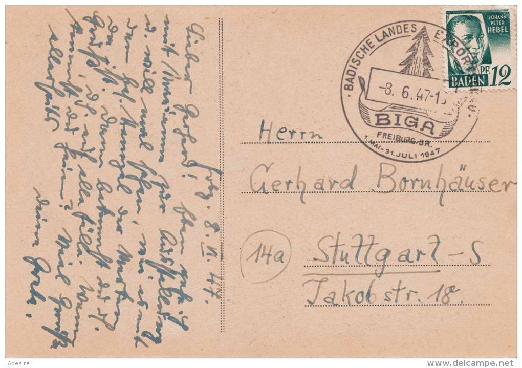 Baden 1947 - 12 Pf + Sonderstempel Auf Ak BIGA Landes Exportschau Freiburg 1947 - Werbepostkarten