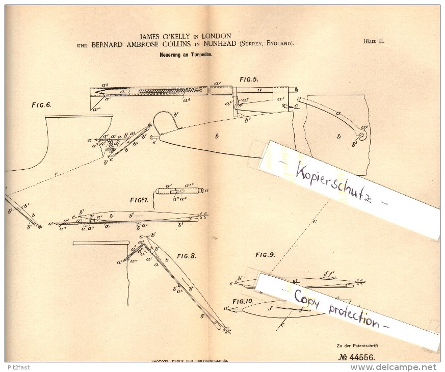 Original Patent - B.A. Collins In Nunhead , 1887 , Innovation In Torpedoes , Torpedo , London !!! - Boats