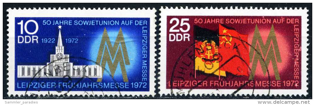 DDR - Michel 1743 / 1744 - OO Gestempelt (B) - 10-25Pf    Leipziger Frühjahrsmesse 72 - Oblitérés